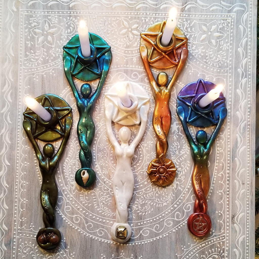 Made to order Goddess Chime Candle Holders Elemental Set