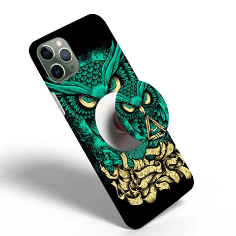 Crazywears Printed Phonecase with White Popsocket - Owl - 06