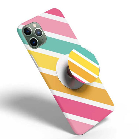 Crazywears Printed Phonecase with White Popsocket - Stripes - 14