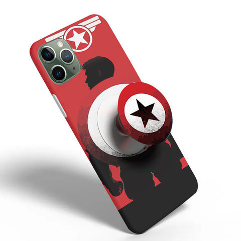 Crazywears Printed Phonecase with White Popsocket - Captain America - 30