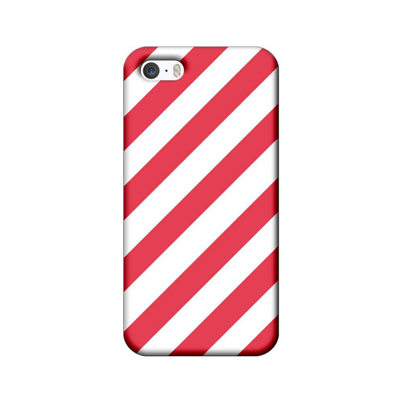 Apple iPhone 5 / 5s / SE Mobile Cover Printed Designer Case Pink and White Stripes