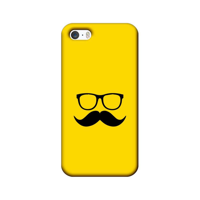 Apple iPhone 5 / 5s / SE Mobile Cover Printed Designer Case Yellow and Black Moustache