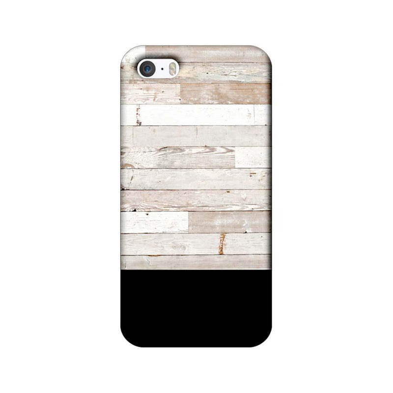 Apple iPhone 5 / 5s / SE Mobile Cover Printed Designer Case Black and White Wood