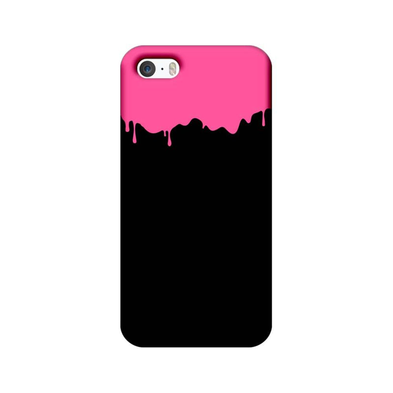 Apple iPhone 5 / 5s / SE Mobile Cover Printed Designer Case Black and Pink Brush Stroke