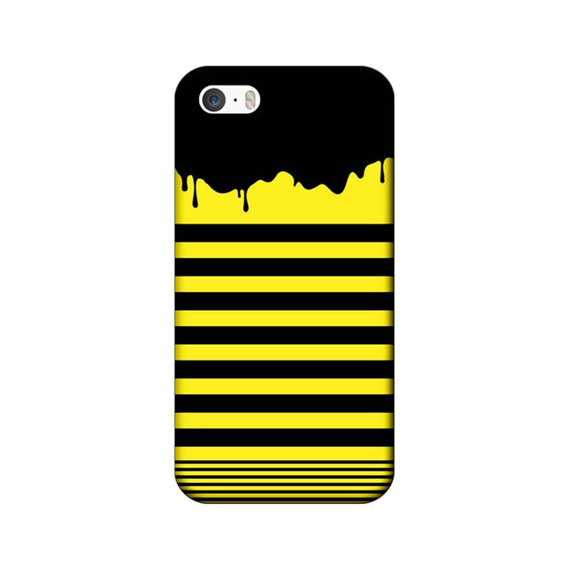 Apple iPhone 5 / 5s / SE Mobile Cover Printed Designer Case Black and Yellow Brush Stroke