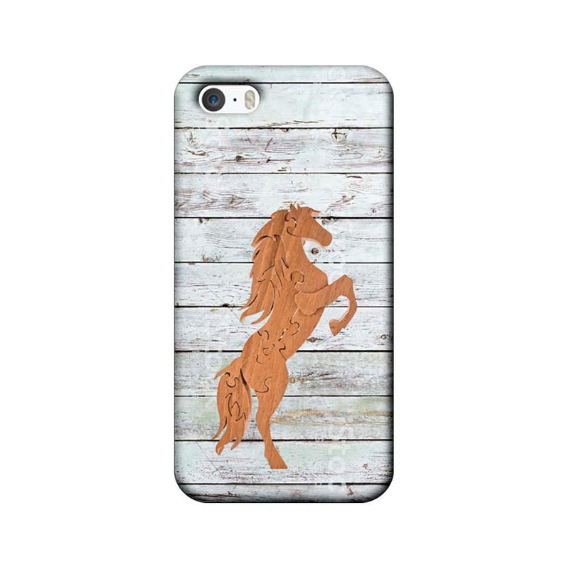 Apple iPhone 5 / 5s / SE Mobile Cover Printed Designer Case Wood Horse
