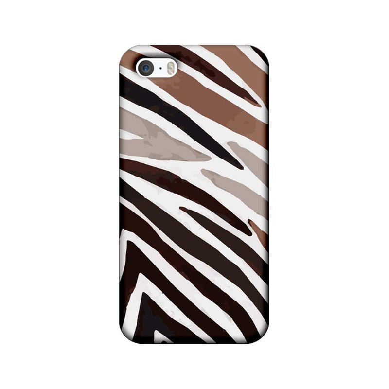 Apple iPhone 5 / 5s / SE Mobile Cover Printed Designer Case Black and Brown Stripe