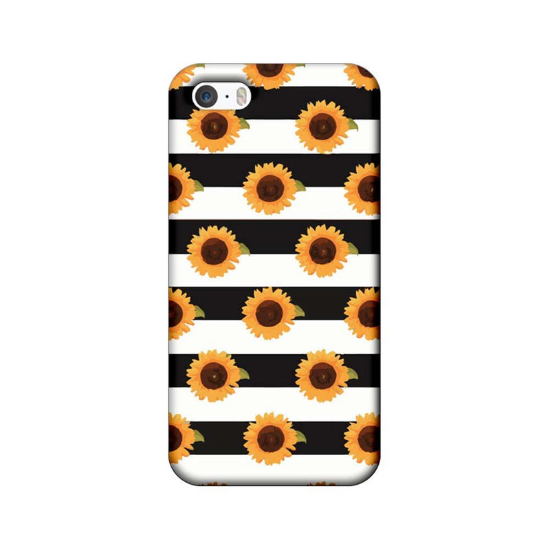 Apple iPhone 5 / 5s / SE Mobile Cover Printed Designer Case Black Stripes and Sunflower