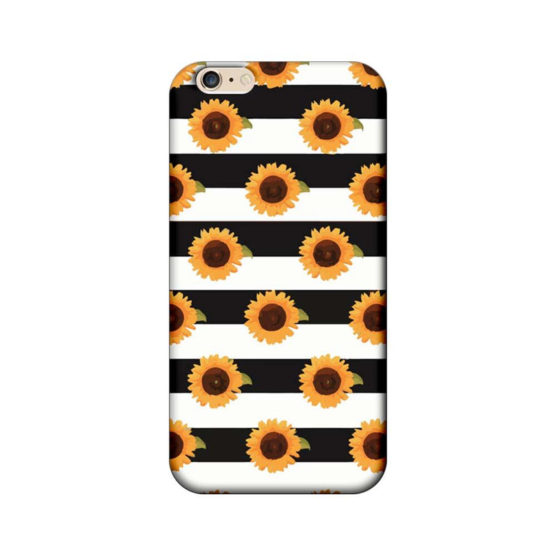 Apple iPhone 6 Plus / 6s Plus Mobile Cover Printed Designer Case Black Stripes and Sunflower