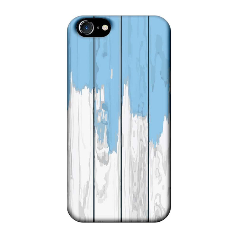 Apple iPhone 8 Mobile Cover Printed Designer Case White and Skyblue Wood