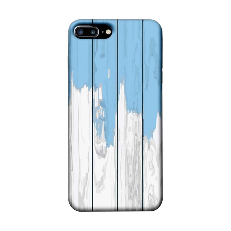 Apple iPhone 8 Plus Mobile Cover Printed Designer Case White and Skyblue Wood