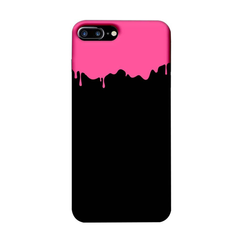 Apple iPhone 8 Plus Mobile Cover Printed Designer Case Black and Pink Brush Stroke