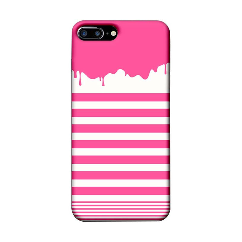 Apple iPhone 8 Plus Mobile Cover Printed Designer Case Pink Stripes Brush Stroke