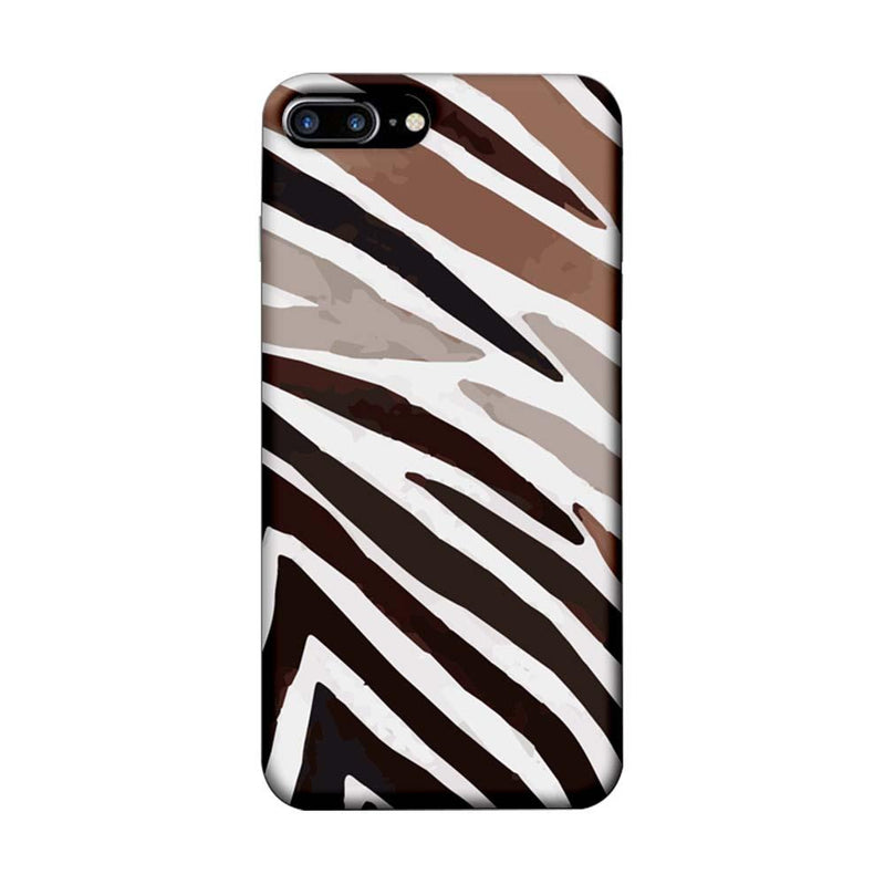 Apple iPhone 8 Plus Mobile Cover Printed Designer Case Black and Brown Stripe
