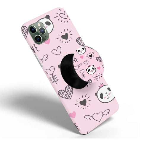 Crazywears Printed Phonecase with Black Popsocket - Love Panda-09