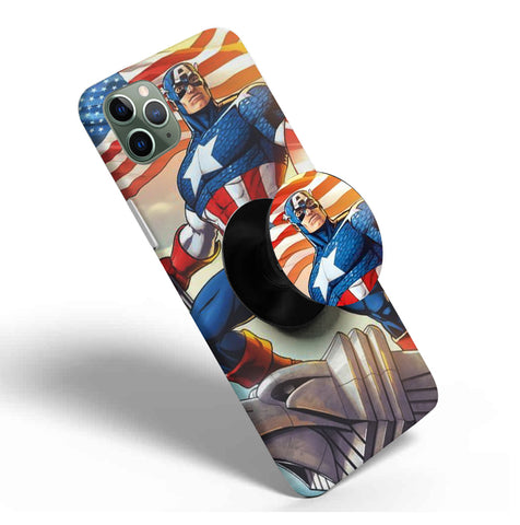 Crazywears Printed Phonecase with Black Popsocket - Captain America - 64