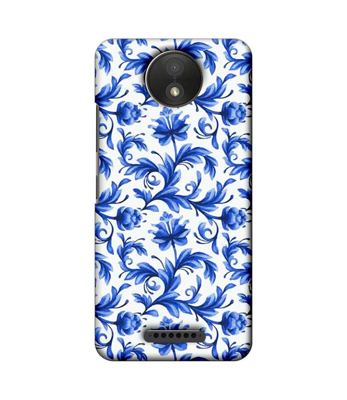 Motorola Moto C Plus Mobile Cover Printed Designer Case Blue Floral 2