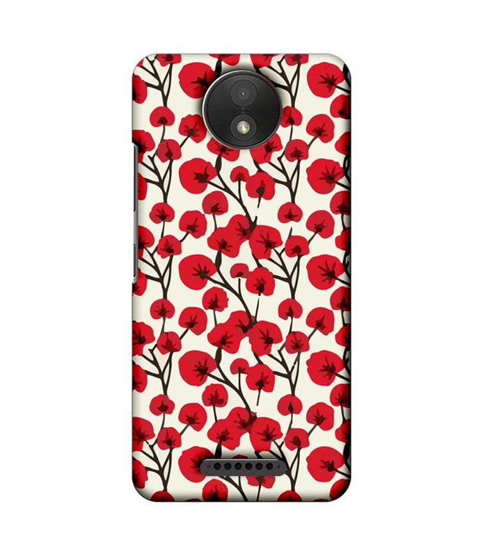 Motorola Moto C Plus Mobile Cover Printed Designer Case Red Floral 2