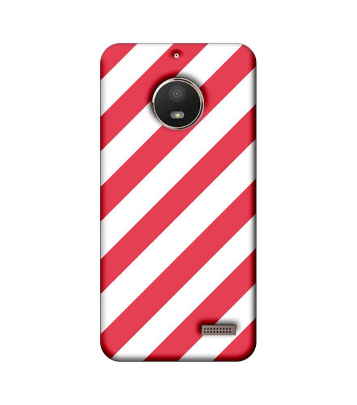 Motorola Moto E4 Mobile Cover Printed Designer Case Pink and White Stripes