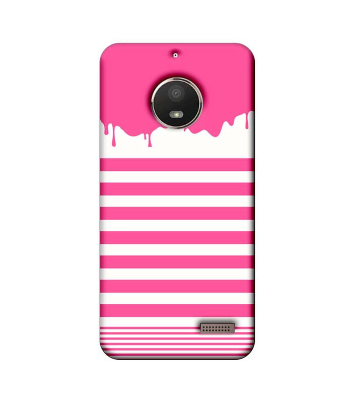 Motorola Moto E4 Mobile Cover Printed Designer Case Pink Stripes Brush Stroke