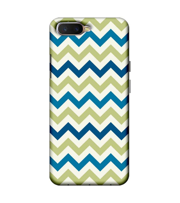 Oppo K1 Mobile Cover Printed Designer Case Light Green Zigzag Stripes