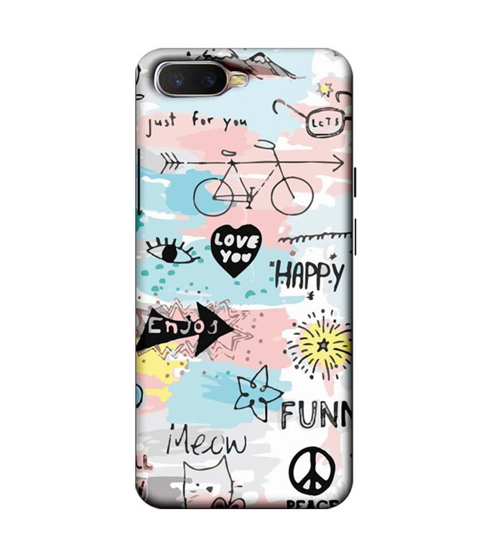 Oppo K1 Mobile Cover Printed Designer Case Enjoy Happily