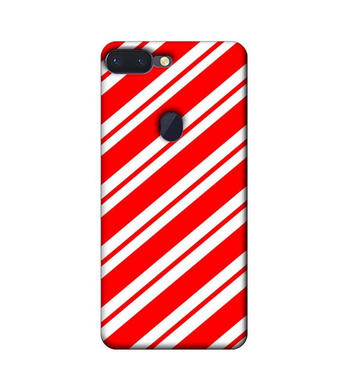 Oppo R15 Pro Mobile Cover Printed Designer Case Red and White Stripes