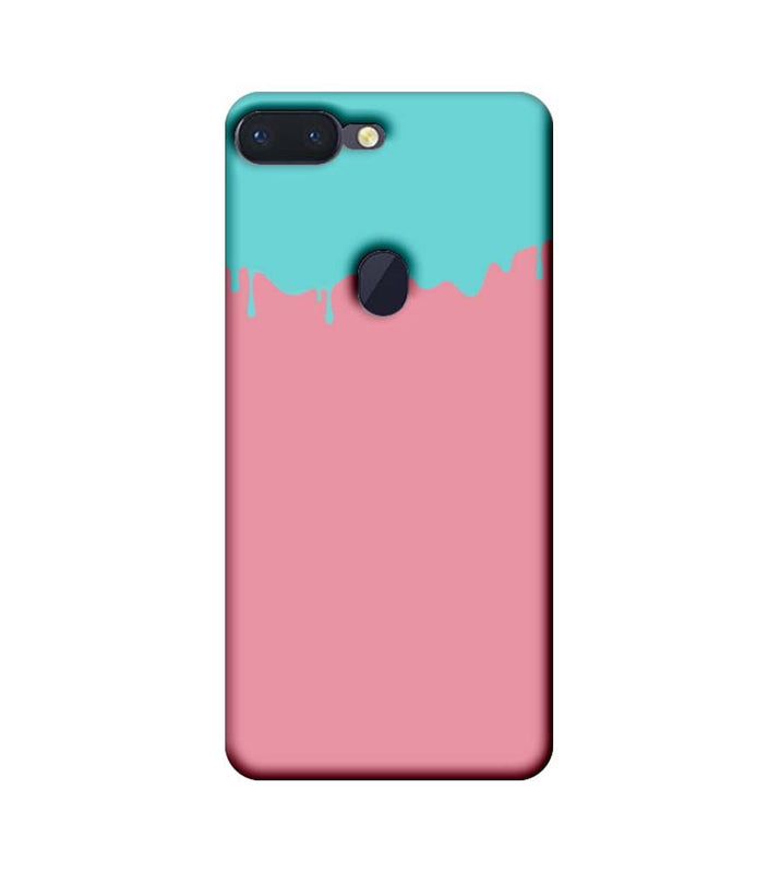 Oppo R15 Pro Mobile Cover Printed Designer Case Pink and Skyblue Brush Stroke