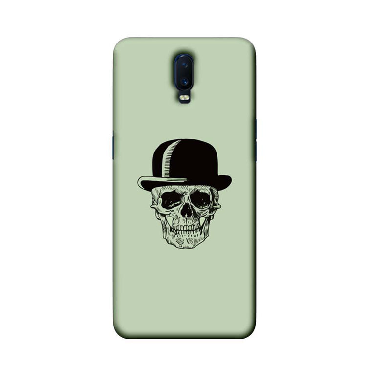 Oppo R17 Mobile Cover Printed Designer Case Skull head with Hat