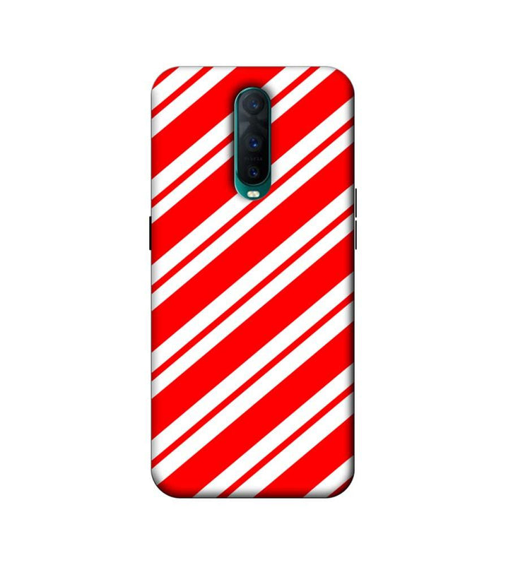 Oppo R17 Pro Mobile Cover Printed Designer Case Red and White Stripes