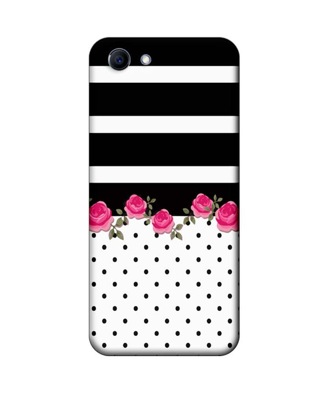 Oppo Real Me 1 Mobile Cover Printed Designer Case Black Stripes with Roses