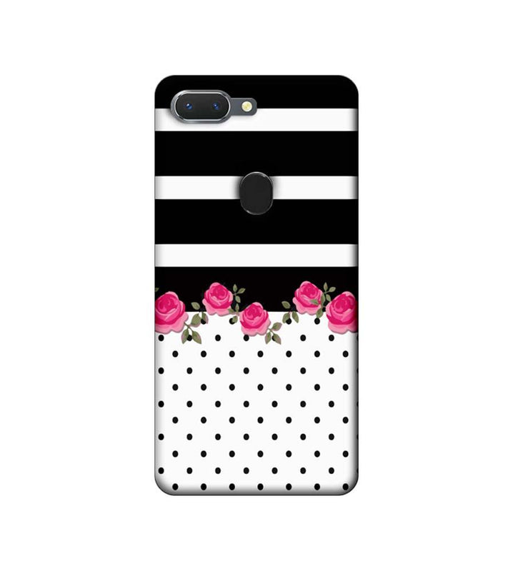 Oppo Realme 2 Mobile Cover Printed Designer Case Black Stripes with Roses