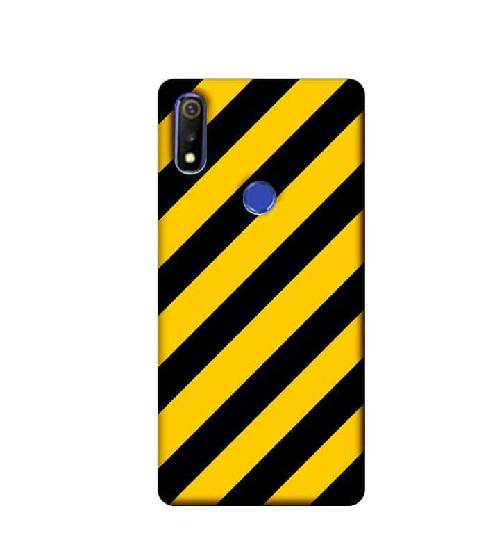Oppo Realme 3 Mobile Cover Printed Designer Case Yellow and Black Stripes