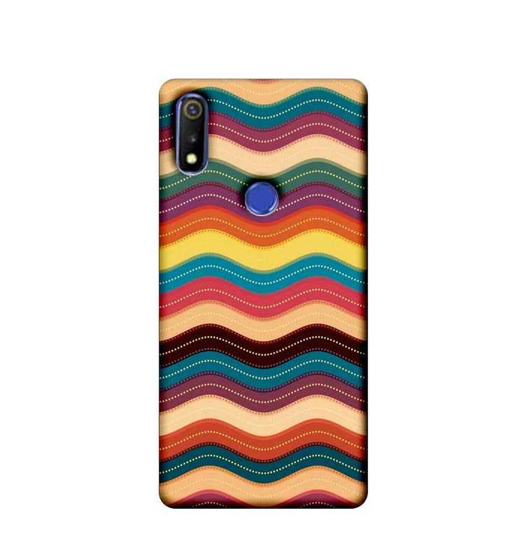 Oppo Realme 3 Mobile Cover Printed Designer Case Multi Colour Waves