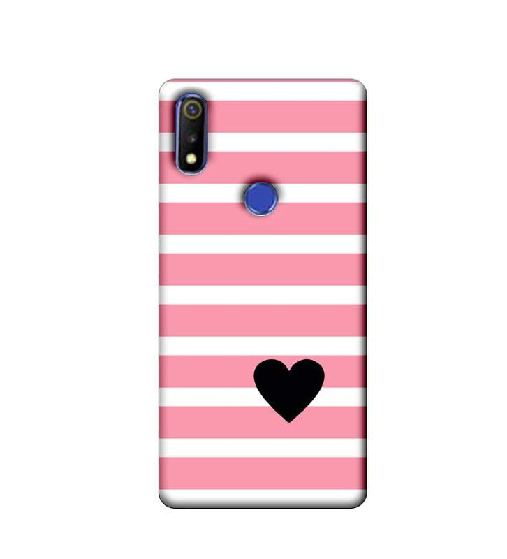 Oppo Realme 3 Mobile Cover Printed Designer Case Heart Pink Stripes