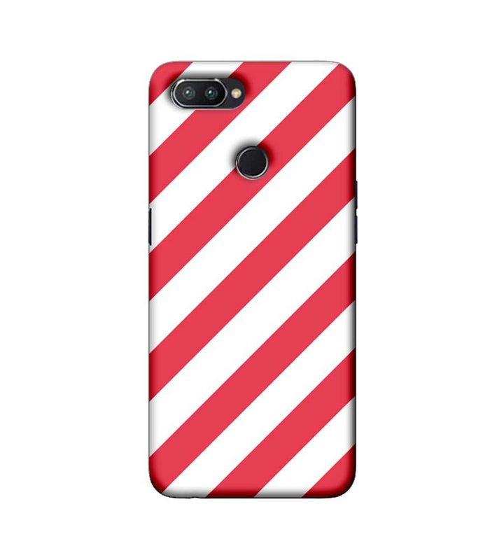 Oppo Realme U1 Mobile Cover Printed Designer Case Pink and White Stripes