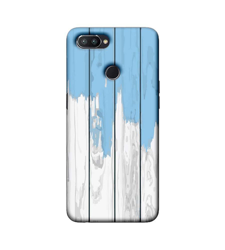 Oppo Realme U1 Mobile Cover Printed Designer Case White and Skyblue Wood