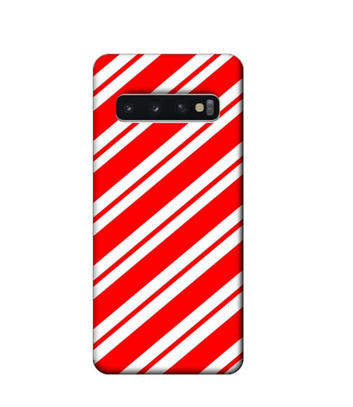 Samsung Galaxy S10 Mobile Cover Printed Designer Case Red and White Stripes