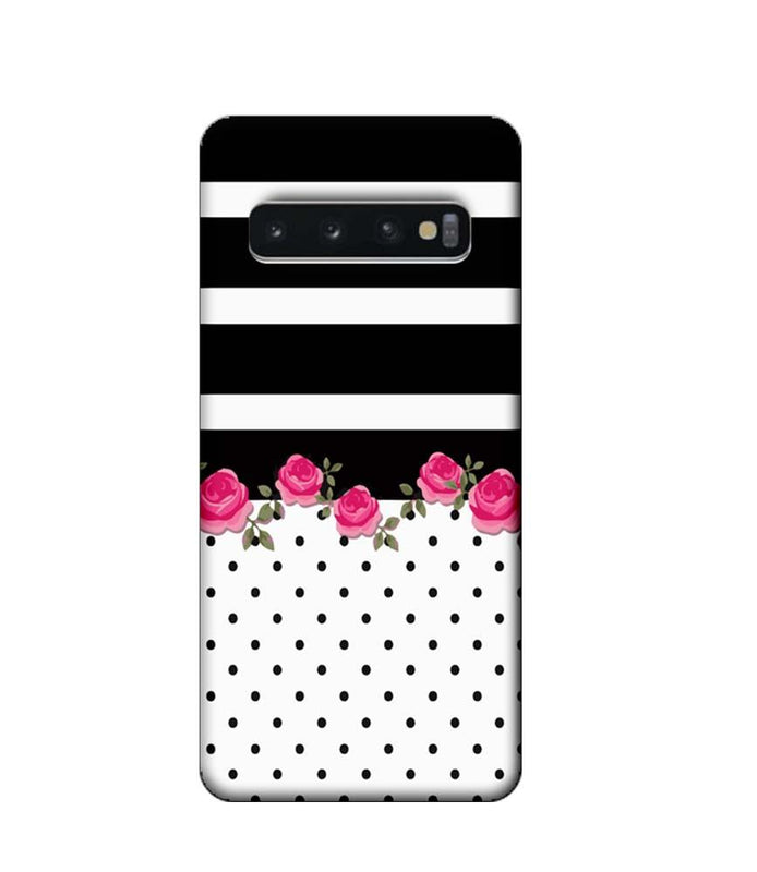 Samsung Galaxy S10 Mobile Cover Printed Designer Case Black Stripes with Roses