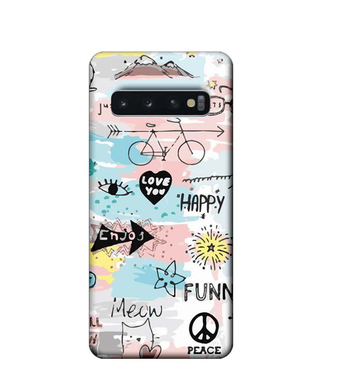 Samsung Galaxy S10 Mobile Cover Printed Designer Case Enjoy Happily
