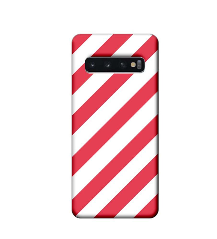 Samsung Galaxy S10 Plus Mobile Cover Printed Designer Case Pink and White Stripes