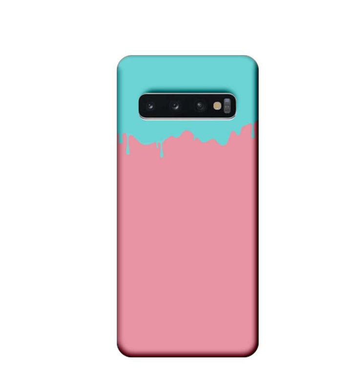 Samsung Galaxy S10 Plus Mobile Cover Printed Designer Case Pink and Skyblue Brush Stroke