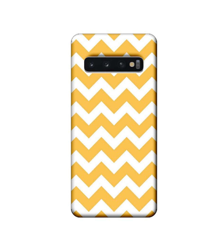 Samsung Galaxy S10 Plus Mobile Cover Printed Designer Case Yellow Zigzag