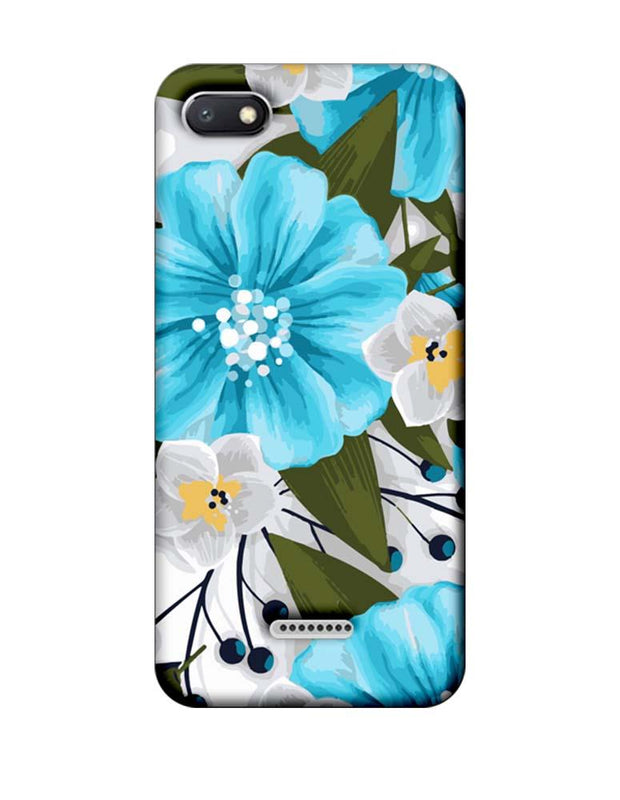 Xiaomi Redmi 6A Mobile Cover Printed Designer Case Blue Floral