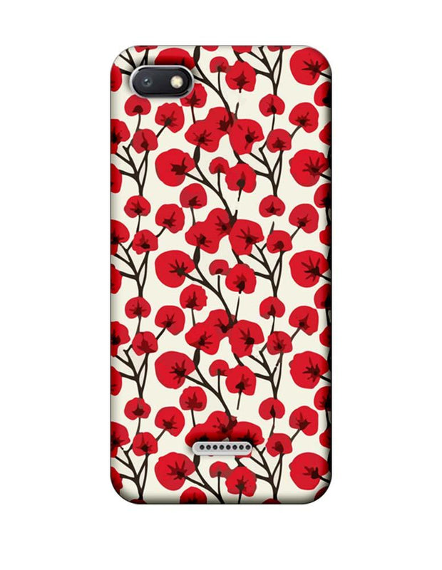 Xiaomi Redmi 6A Mobile Cover Printed Designer Case Red Floral 2