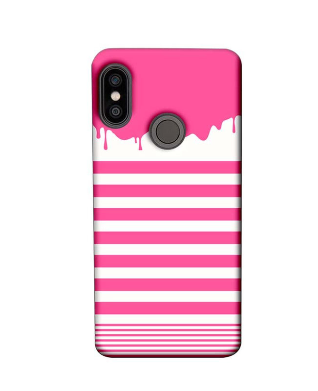 Xiaomi Redmi Note 5 Pro Mobile Cover Printed Designer Case Pink Stripes Brush Stroke
