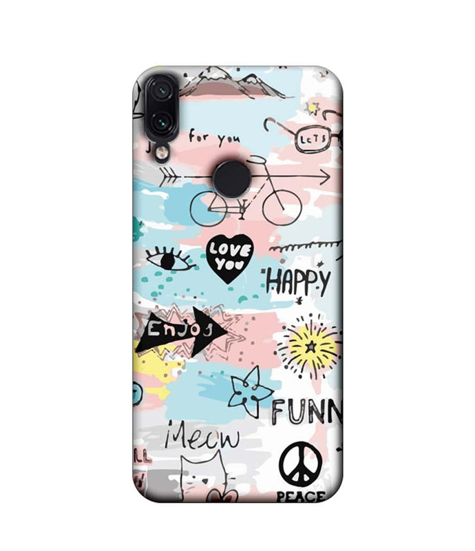 Xiaomi Redmi Note 7 Pro Mobile Cover Printed Designer Case Enjoy Happily