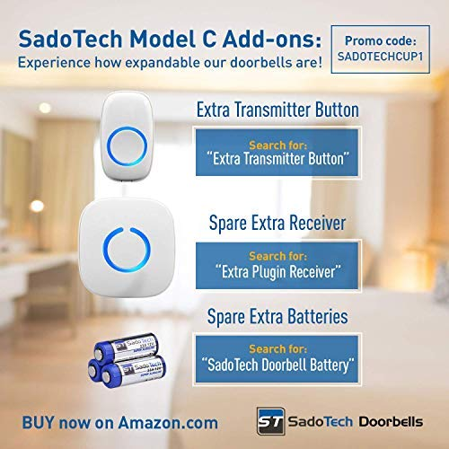 SadoTech Model C Wireless Doorbell Operating at over 500-feet Range with Over 50 Chimes, No Batteries Required for Receiver, (White)