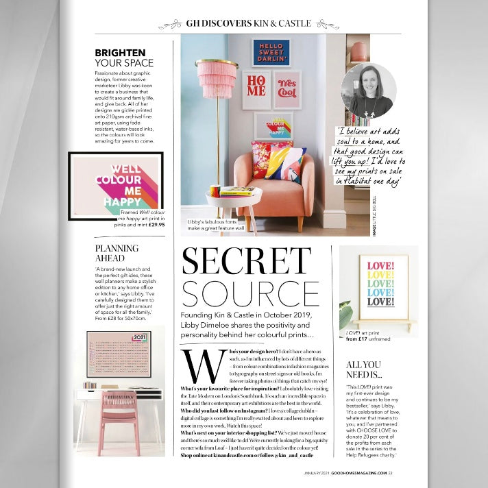 KIN AND CASTLE IN GOOD HOMES MAGAZINE