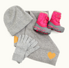 Choose Love warm clothes , hat, gloves, boots and scarf funded by Kin and Castle Choose Love Charity art print
